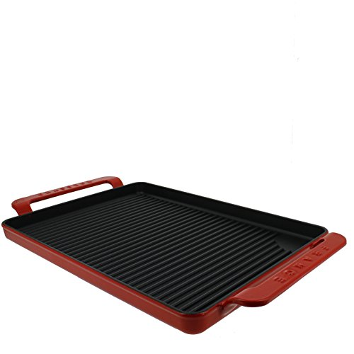 Chasseur 14-inch Flame Red Rectangular French Enameled Cast Iron Grill Pan with Handles by Chasseur Chasseur Grill