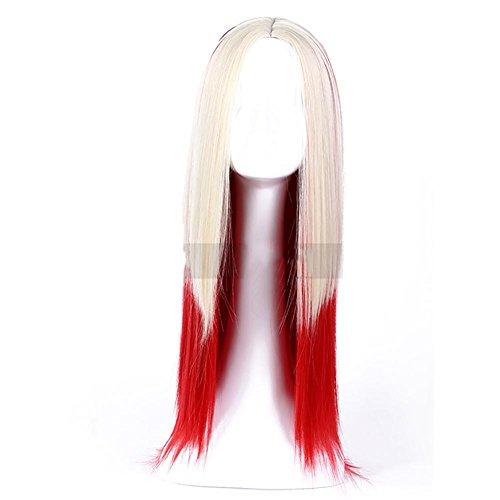 Lange gerade Perücke für Frauen 2 Töne rote Mischungs-weiße Farben-Art- und Weiseperücke mittlere Abschieds-weiche synthetische Haar-hitzebeständige mit Kappen-Perücken 80cm (Synthetische Haar-mischung)