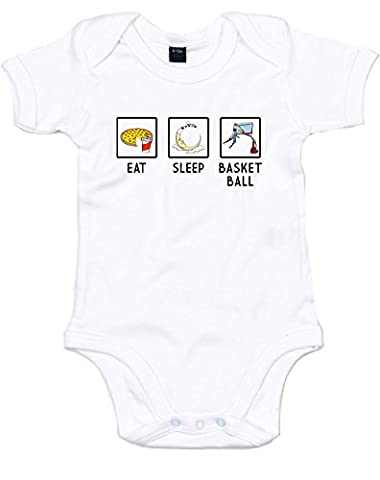 Eat Sleep Basketball, Alt, Imprimé bébé grandir - Blanc/Noir/Transfert 3-6 Mois