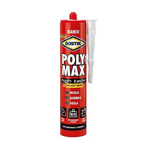 Bostik poly max high tack express d6118, colla di montaggio e sigillante universale, 435gr, bianco