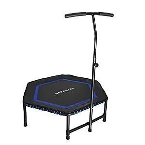 NATURALIFE Mini Fitness-Trampolin mit höhenverstellbarer Griff, Max bis 120kg, Ø120cm/48inch, TÜV-Geprüft, Fitness Rebounder für Körpertraining und Cardio Workouts, leise Gummiseilfederung