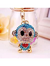 Banggood ELECTROPRIME Crystal Keyring Charm Pendant Bag Key Ring Chain Keychain Blue Monkey