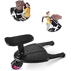 Guoyy Remorque de remorque d'artefact de pédale auxiliaire de poussette, accessoire de poussette de siège de plaque debout de deux enfants (roue rose)