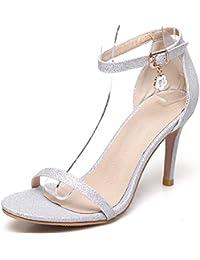 d9b96c593 MENGLTX Sandalias Tacones Altos Sandalias De Mujer Zapatos De Verano con  Hebilla Simple Tamaño Grande 33