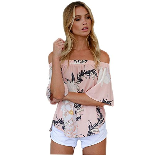 WOCACHI Damen Sommer Tops Mode Frauen weg von der Schulter Blumenmuster Bluse Reizvolle Tops Casual T-Shirt Blau Rosa