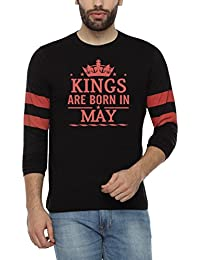 Pepperclub Men's Cotton Round Neck Full Sleeve Tshirt - Kings Are Born In May