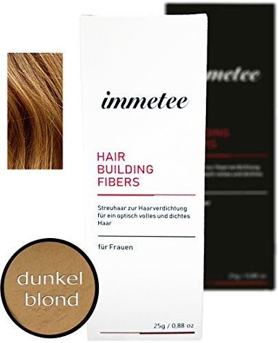 immetee Streuhaar - Schütthaar - Premium Qualität | Haaransatz kaschieren in Sekunden (für Frau, dunkelblond)