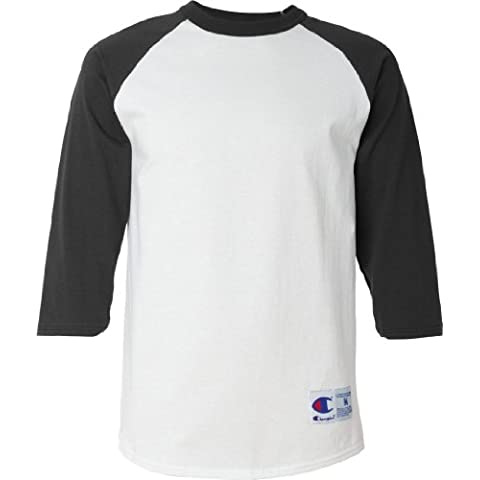 Champion Hombre Tagless de béisbol Raglan – Camiseta, color blanco/negro, mediano (US)