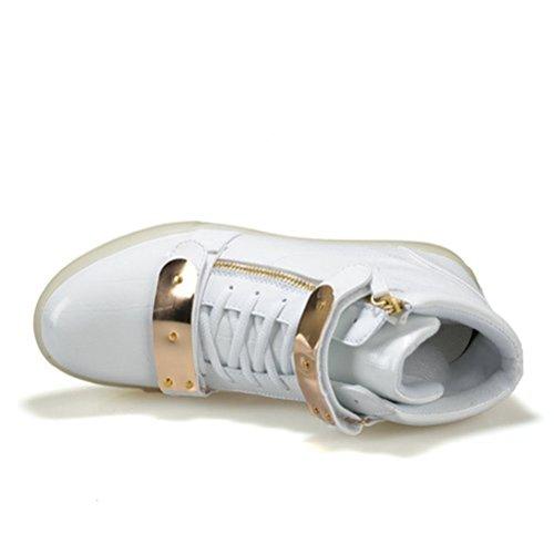 [Présents:petite serviette]JUNGLEST Motif 7 Changement de couleur déclairage LED clignotant Unisexe Sneakers Chaussures Blanc
