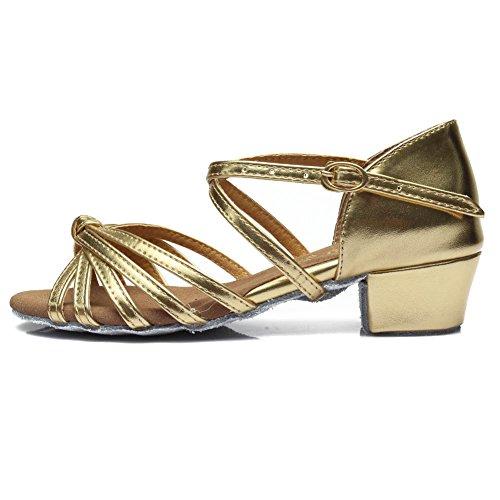SWDZM Donna Scarpe da ballo/Scarpe da ballo latino standard Raso Ballroom Model-IT-203 Oro