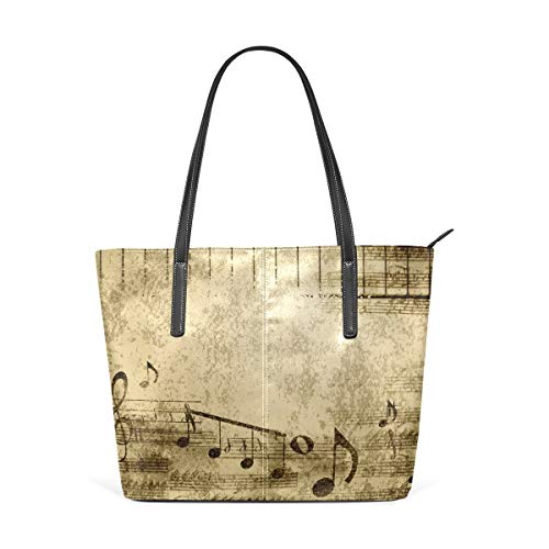 XGBags Custom Frauen Umhängetaschen Vintage Music Notes PU Leather Shoulder Tote Bag Purse for Women Girls (Frauen Handtaschen Jessica Simpson)