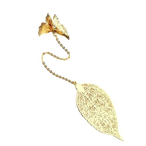 TOYMYTOY segnalibri metallo argento Particolare Farfalla e foglie Segnalibro Fai Da Te per bambini laurea (d'oro)