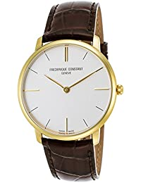 Frederique Constant Slimline Gold Plated Steel Mens Strap Watch Silver Dial FC-200V5S35