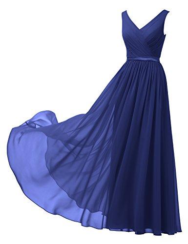 Alicepub A-Linie Chiffon Brautjungfernkleider Abendkleider Lang Ärmellos Ballkleider, Königsblau,...