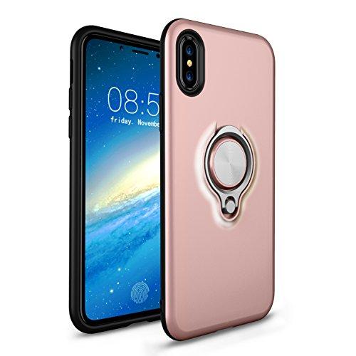 iPhone X Hülle,MOONESS Slim Fit Schlagfesten Stoßstangen Bumper Case mit Ring Halter Handyhülle für iPhone X 5.8 pollici(Schwarz) Goldrose
