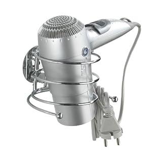 WENKO 18770100 Turbo-Loc Haartrocknerhalter, Befestigen ohne bohren, Kabelhalter, Stahl, 14 x 7.5 x 11.5 cm, Chrom