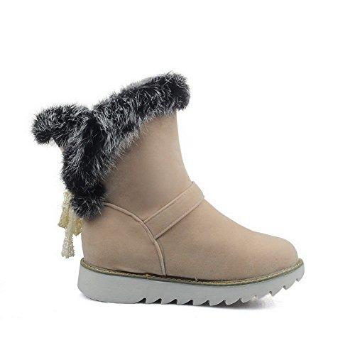 AgooLar Damen Ziehen auf Niedriger Absatz Niedrig-Spitze Schneestiefel, Cremefarben, 37