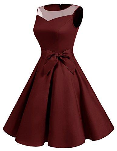 1950er Vintage Damenkleid Retro Pinup Rockabilly Festlich Partykleider Cocktailkleider Burgundy