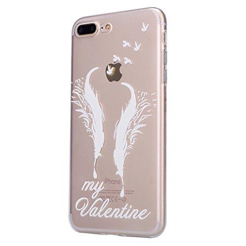iPhone 7 Plus Hülle,iPhone 7 Plus TPU Gel Case Bumper,Ekakashop Bunte Transparent Comic Rote Lotus Muster Crystal Klar Flexible Case Silikon Defender Protective Schutzhülle Durchsichtig mit Niedliche  Zwei Federn