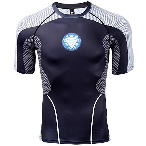 Herren Kompressionshemd Iron Man 3D Druck T-Shirt Fitness Tops - Weiß - Groß