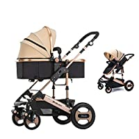 Upgraded Infant Baby Stroller Cynebaby Convertible Bassinet Stroller Compact Single Baby Carriage Toddler Seat Stroller for Newborn and Toddler, Khaki Color