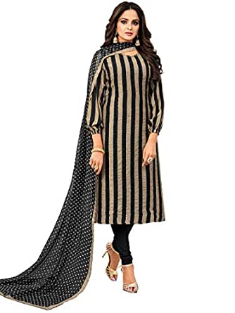 Rajnandini Women's Black & Beige Chanderi Silk Sequence Semi-Stitched Salwar Suit Material With Printed Dupatta (Free Size)