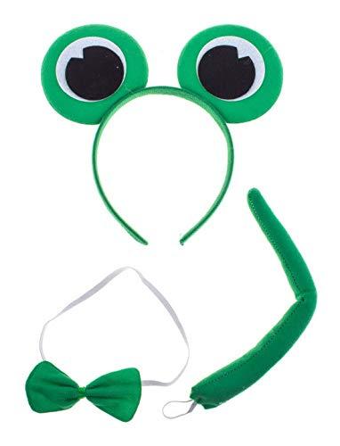 Kostüm Zebra Kit - Halloweenia - Kostüm Accessoires Zubehör Damen Plüsch Frosch Fell Set aus Ohren Schwanz und Fliege, Frog Kit with Ears Tail and Bow Tie, perfekt für Karneval, Fasching und Fastnacht, Grün