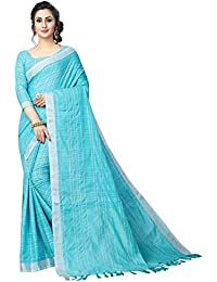 Perfectblue Women's Linen Saree With Blouse Piece (LinenMiinniimumvaariation)