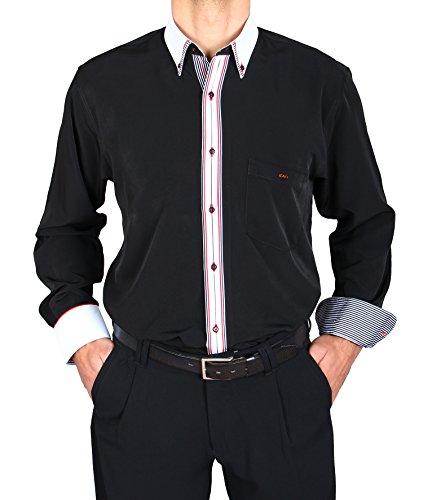 H K Mandel Edles Designer Hemd in Schwarz, HK Mandel Freizeithemd Normal Nicht Tailliert, 3155 Grösse L (60er-jahre-smoking)