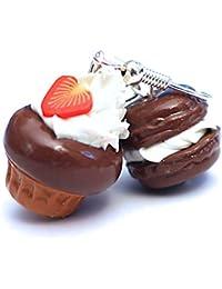 Les Bijoux Acidulés - Boucles d'oreilles macaron et cupcake au Chocolat
