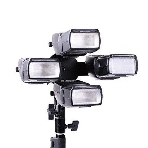 Professioneller Blitzhalter für bis zu 4 Aufsteckblitze mit Halterung für einen Studioschirm für Spigots 3/8 bis 5/8