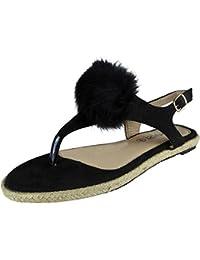 Aux Femmes T-Bar Fourrure Pom Pom Espadrilles Des sandales Taille 36-41