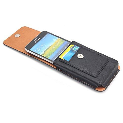 Galaxy Note 7Premium Leder Handy Holster, der Etui mit 360Grad drehbarer Gürtelclip und Kartenfächern für Samsung Galaxy S5, S6, S6Edge, S7, iPhone 6S Plus und mehr Handys, Leder, schwarz, 5.1 schwarz