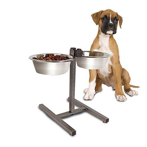 Garden Mile doppelt Hunde Katze Haustier ausgelöst Fütterung Näpfe, höhenverstellbar Edelstahl Fütterung Station Ständer, Futter Napf Wassernapf - Hund-wasser-station Großer