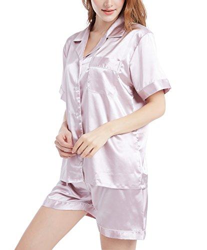 Seide Damen Kurzarm-schlafanzug (Damen Schlafanzüge Kurzarm Satin Pyjama Set Nachtwäsche mit Kurze Hose Kurz Ärmel Sommer (Rosa mit weißem Keder, S=EU (36-38)))