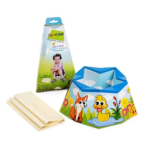 ComfyDo Baby Kind Faltbarer Tragbar Reise Unterwegs Karton Töpfchen Trainer Toilettensitze Toilettentrainer Einmal-Auflage, Garden Friends, türkis -