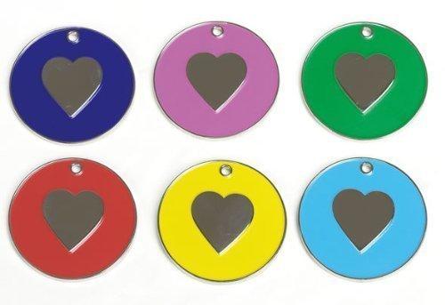 Farbige ID Tag mit Herz für Hunde-Pink (idnick08) (Herz-dog Harness)