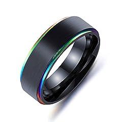 Idea Regalo - AieniD Gioielli Anello Uomo Colore Colore Nero Antistress in Anello Size 7