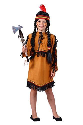 Indianer-Kostüm Kinder Mädchen Indianerkleid hell-braun mit Fransen Adler Falke Apache Karneval Fasching Hochwertige Verkleidung Größe 152 Braun