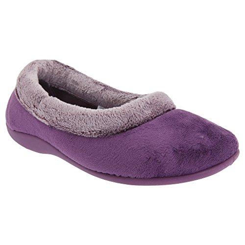 Sleepers Julia Damen Hausschuhe mit plüschigem Kragen (7 UK/40EU) (Violett)