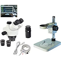 Microscope Composé Biologique Objectif 0,7X-4,5 Rapport de Zoom continu 1: 6,5 Grand Angle Wf10 × / φ20mm, Trinoculaire articulé Grand Angle Wf20 × / 10mm (≥90x), espacement de 55-75mm