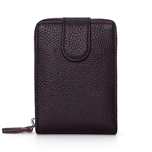 Yeying123 Die erste Schicht aus Leder Männer und Frauen Führerschein Ledertasche RFID Leder Karte Tasche Reißverschluss Orgel Brieftasche Multifunktions Führerschein Tasche,Brown