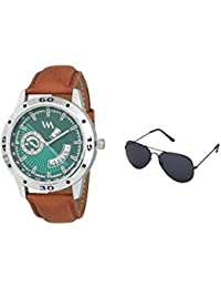 Watch Me Gift Combo Set Of Sunglasses And Day Date SeriesGreen Dial Analog Brown Leather Strap Quartz Watch For...