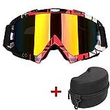 SWAMPLAND Motorradbrillen mit UV-Schutz Anti-Fog Wintersport-Brille Skibrillen Snowboardbrille Radsportbrille Dirtbike Off-Road Schutzbrille,Rot und Schwarz