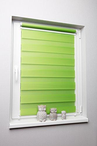Doppelrollo Duorollo verschiedene Farben und Größen ohne Bohren Klemmrollo Seitenzugrollo Grün 110×150 cm - 2