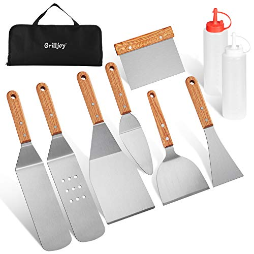 grilljoy 10 pc Set di spatole per Barbecue Set per Barbecue Acciaio Inossidabile Set di spatole per Tailgating Teppanyaki Grill Utensili per Barbecue