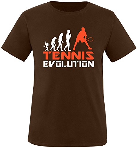 EZYshirt® Tennis Evolution Herren Rundhals T-Shirt Braun/Weiss/Orange