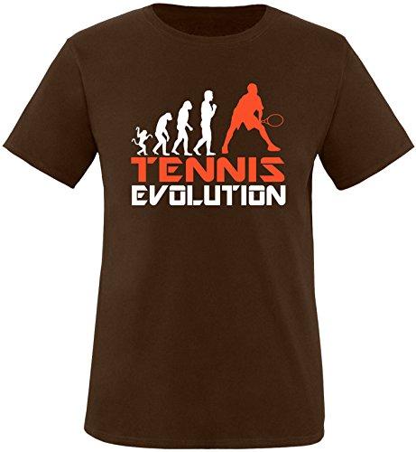 EZYshirt® Tennis Evolution Herren Rundhals T-Shirt Braun/Weiss/Orange