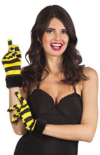 Halloweenia - Kurze Gestreifte Handschuhe Bee Biene, Gelb Schwarz - Schwarz Gestreifte Stulpen