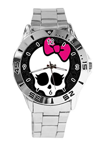 Modische Monster-High Customized Rectangle Custom Design Analog Armbanduhr Quarz Silber Zifferblatt Classic Stainless Steel Band Damen Herren ()